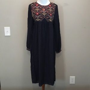 Zara Trafaluc Boho Embroidered Navy Dress NWT